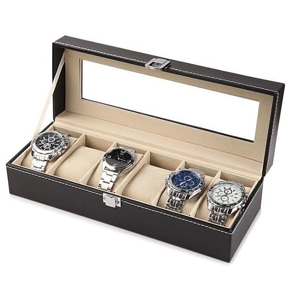 手錶收納盒開窗皮革首飾箱高檔手錶包裝整理盒擺地攤手錬盤手錶架 喵小姐