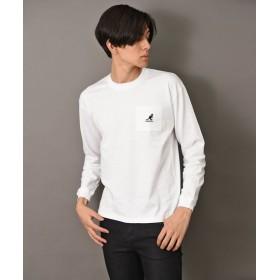(revenil/ルヴニール)KANGOL ポケット付袖ロゴクルーロングスリーブTシャツ/メンズ ホワイト