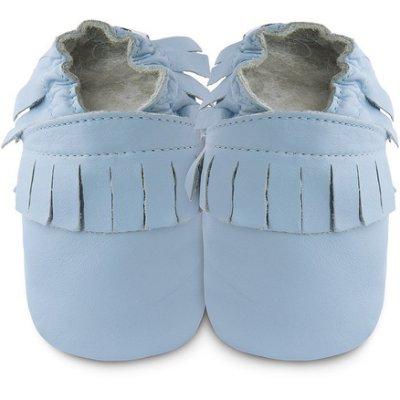 【愛寶貝】英國 shooshoos 健康無毒真皮手工學步鞋/嬰兒鞋/室內保暖鞋_藍色流蘇_102223