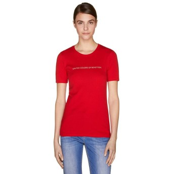(BENETTON (women)/ベネトン レディース)ロゴクルーネック半袖Tシャツ・カットソー/レディース レッド