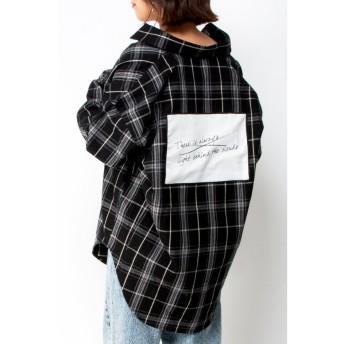 (VENCE EXCHANGE/ヴァンス エクスチェンジ)バックパッチチェックシャツ/レディース ブラック