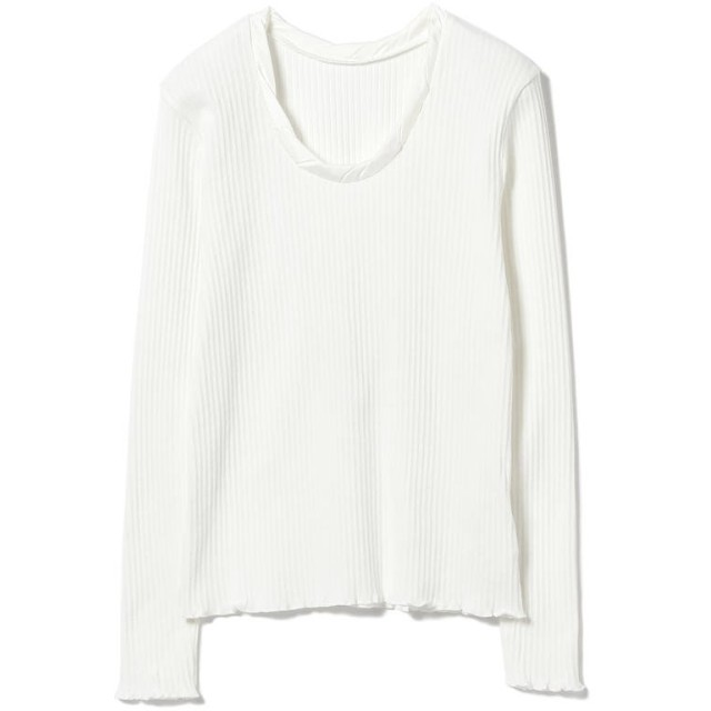 (BEAMS OUTLET/ビームス アウトレット)Ray BEAMS / パターン リブ ツイスト ネックTシャツ/レディース WHITE