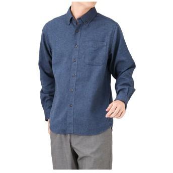 (MAC HOUSE(men)/マックハウス メンズ)Navy ネイビー フランネル無地ボタンダウンシャツ NM8177-01/メンズ DKブルー