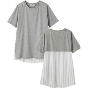 (Ranan/ラナン)バックプリーツ切替Tシャツ/レディース グレー系