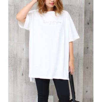 (SocialGIRL/ソーシャルガール)ロゴ刺繍ベルト付きチュニックTシャツ/レディース オフホワイト