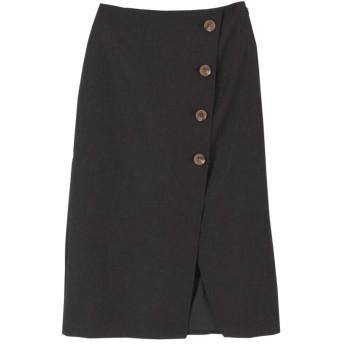 (titivate/ティティベイト)リネンライクフェイクラップ台形スカート/レディース ブラック