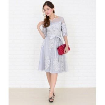 (Lace Ladies/レースレディース)ウエストリボン付き3重レイヤード花柄シースルーワンピース・ドレス/レディース グレー