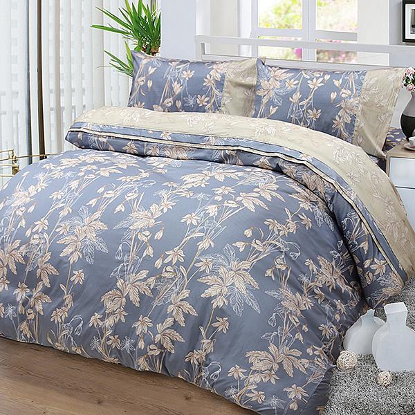 【FITNESS】精梳棉加大四件式兩用被床包組-緲緲煙花(灰藍)_TRP多利寶