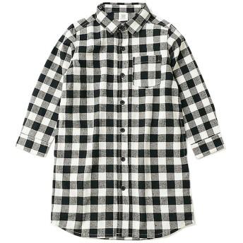 (devirock/デビロック)ネルチェックシャツ長袖ワンピース/ ブラック系2