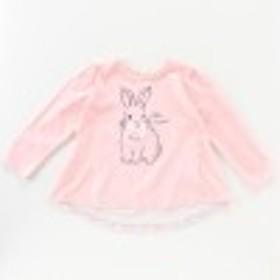 女の子長袖アニマル柄背中切り替えTシャツ【ベビー・子供服】
