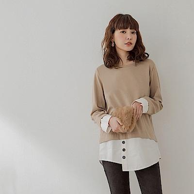 假兩件純色針織拼接不規則下襬側排釦長袖上衣-OB大尺碼