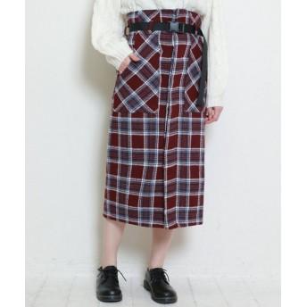 (DOUBLE NAME/ダブルネーム)ベルト付チェックナロースカート/レディース ワイン