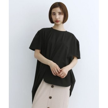 (merlot/メルロー)パフスリーブ変形アシメTシャツ/レディース ブラック