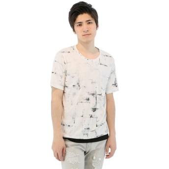 (semanticdesign/セマンティックデザイン)グランジプリントレイヤード風Tシャツ/メンズ ホワイト