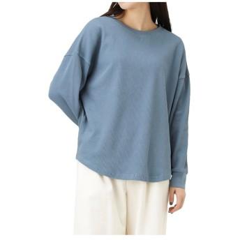 (MAC HOUSE(women)/マックハウス レディース)Navy ネイビー オーガニックコットン ワッフルロングスリーブTシャツ OGCS0001/レディース ブルー