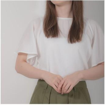 (BRICKHOUSE/ブリックハウス)レディース ウィメンズシャツ カジュアル 半袖 ラッフル袖ブラウス 白/レディース シロ