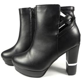(Mafmof/マフモフ)Mafmof(マフモフ) BLACK切替ヒールのショートブーツ/レディース ブラック
