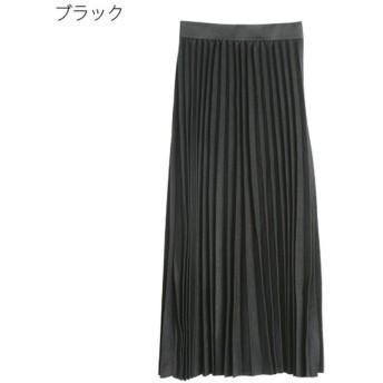 (Rejoule/リジュール)ニットソー プリーツスカート/レディース ブラック
