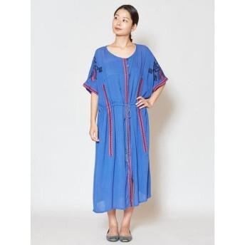 (CAYHANE/チャイハネ)【チャイハネ】yul ロータス刺繍ワンピース IDS-9533/レディース ブルー
