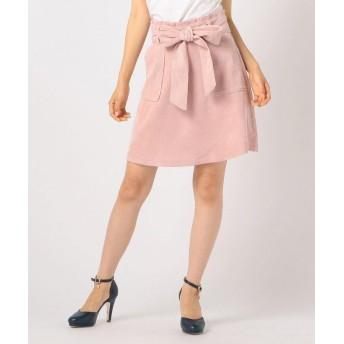 (LODISPOTTO/ロディスポット)リボンベルト付台形スカート / CANDY LODISPOTTO/レディース ピンク