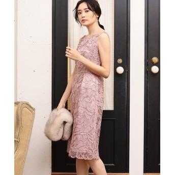 (ANAYI/アナイ)チュール刺繍ノースリワンピース/レディース ピンク