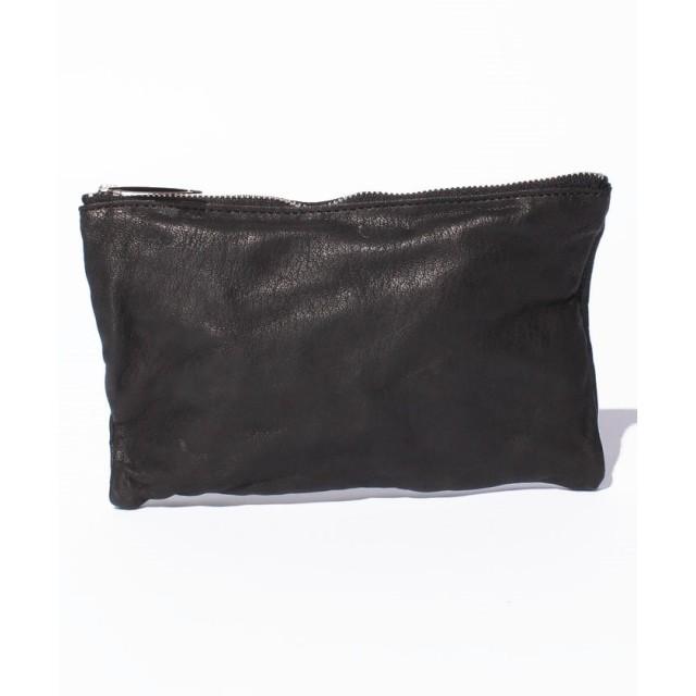 (PATRICK STEPHAN/パトリックステファン)Leather-washed pochette S 'shine'/メンズ ブラック×シルバー