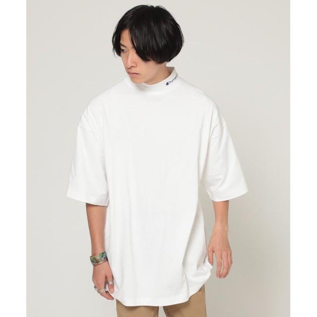 (BEAMS MEN/ビームス メン)Champion × BEAMS / 別注 モックネック Tシャツ/メンズ WHITE