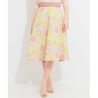 (MICHEL KLEIN/ミッシェルクラン)オリジナルフラワージャカードスカート/レディース ピンク