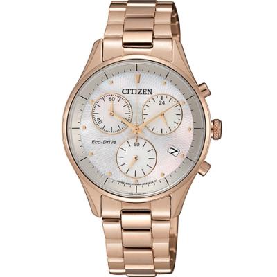 CITIZEN 星辰 XC 光動能三眼計時手錶 FB1442-86D 玫瑰金