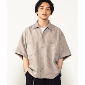 (WEGO/ウィゴー)WEGO/フェイクスウェードオープンカラーシャツ/メンズ ライトグレー