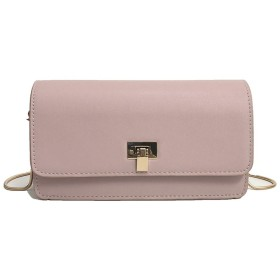 ショルダーバッグ 女性のメッセンジャーバッグカジュアルPU電話交換用ショルダーチェーンミニスクエアバッグ 大人 カジュアル シンプルデザイン (Color : Pink)