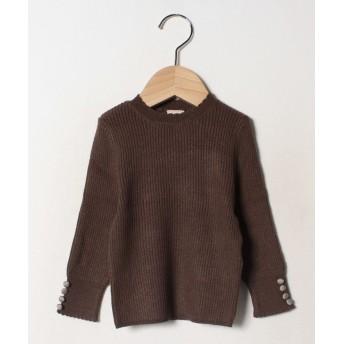 (petit main/プティマイン)袖くるみボタンインナーニットTシャツ/ ブラウン
