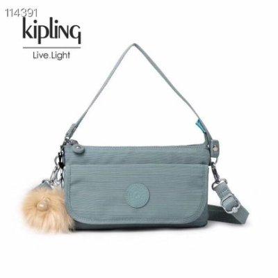 缺貨)Kipling 猴子包 K23431 亞麻藍綠 輕便旅行夾層斜背包/側背/肩背 長短背帶 出遊 旅行 防水 限時優惠