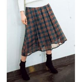 (GeeRa/ジーラ)ベルト付上品チェックプリントスカート/レディース グリーンケイ