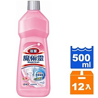 花王 魔術靈 浴室 清潔劑(經濟瓶)-玫瑰香 500ml (12入)/箱【康鄰超市】