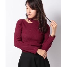 (DAISY MERRY/デイジーメリー)テレコ衿開きTシャツ/レディース ワイン