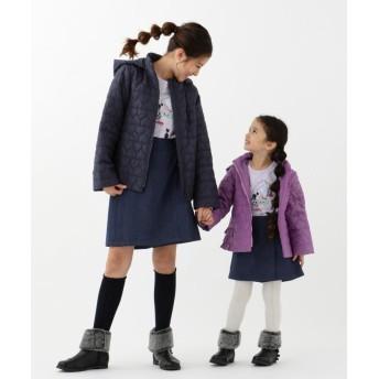 (KUMIKYOKU KIDS/クミキョクキッズ)【110~140cm】ハートキルト中綿コート/ パープル系