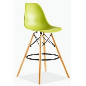 イームズハイスツール、プラスチックバーチェア、クリエイティブ・バースツール、レジファッションバーのテーブルと椅子、北欧バーチェア(4パック) (Color : Light green)