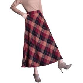 秋冬 チェック柄ロングスカート ウエストゴム ロングスカート ポケットあり ボトムス チェック柄 Aライン フレア