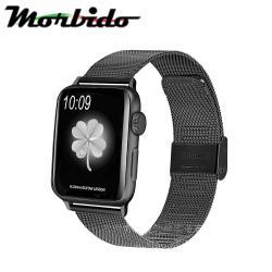 Morbido蒙彼多 Apple Watch 44mm不鏽鋼編織卡扣式錶帶 黑