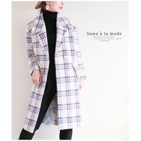 (Sawa a la mode/サワアラモード)ウールチェック柄オーバーサイズチェスターコート/レディース ホワイト