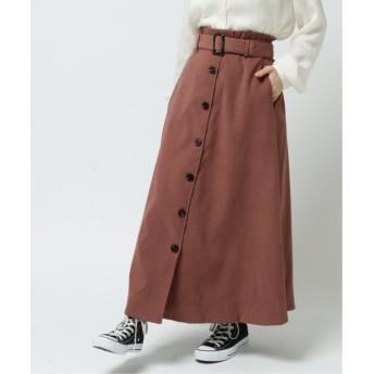 (framesRayCassin/フレームスレイカズン)サンディングピーチ前ボタンスカート/レディース ブラウン