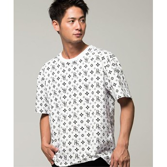 (CavariA/キャバリア)CavariA【キャバリア】総柄プリントビッグシルエットクルーネック半袖Tシャツ/メンズ ホワイト