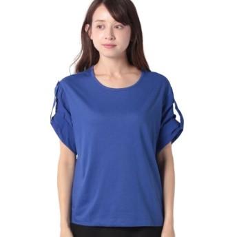 (BENETTON (women)/ベネトン レディース)配色ロールアップスリーブオーバーサイズTシャツ・カットソー/レディース ブルー