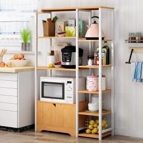 レンジ台 キッチンラック キッチン・ベイカーのラックヴィンテージユーティリティ・ストレージシェルフ電子レンジキャビネットと5-ティアシェルフ3色のスタンド レンジボード キッチン棚 (Color : Natural, Size : 80x30x122cm)