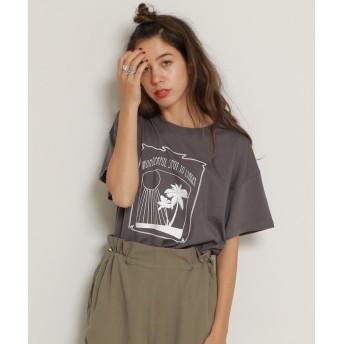 (DOUBLE NAME/ダブルネーム)ゆるアロハTシャツ/レディース スミクロ