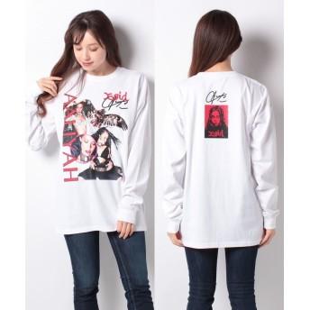 (X-girl/エックスガール)X-girl × AALIYAH L/S TEE/レディース ホワイト