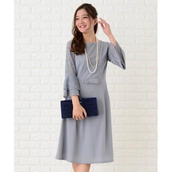 (Lace Ladies/レースレディース)フレア袖切り替えシンプルワンピース・ドレス/レディース グレー