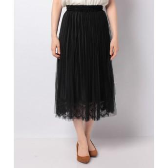 (axes femme/アクシーズファム)ベロアチュール重ねスカート/レディース ブラック