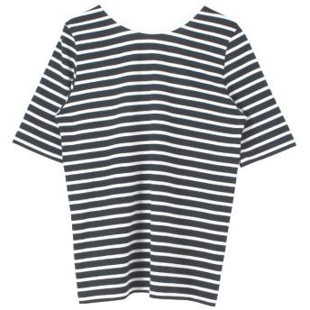 (titivate/ティティベイト)バックラウンドボーダーカットソーTシャツ/レディース ネイビー/オフホワイト